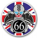 Year Dated 1966 Cafe Racer Roundel Design & Union Jack Flag Vinyl Car sticker decal 90x90mm